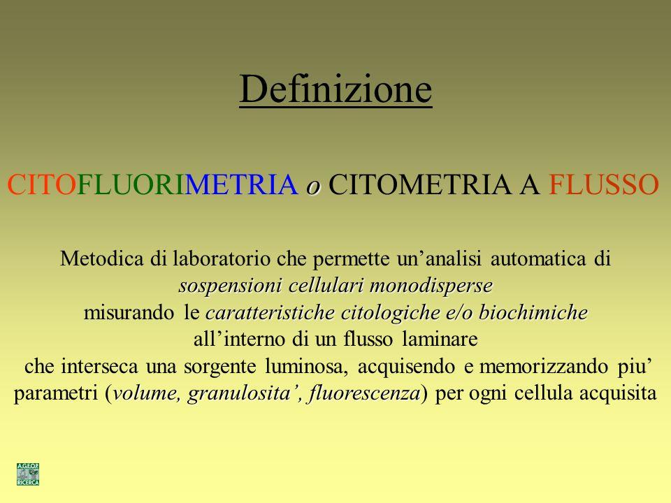 Definizione CITOFLUORIMETRIA o CITOMETRIA A FLUSSO