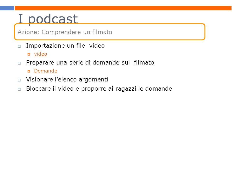I podcast Azione: Comprendere un filmato Importazione un file video