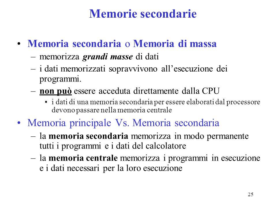Memorie secondarie Memoria secondaria o Memoria di massa
