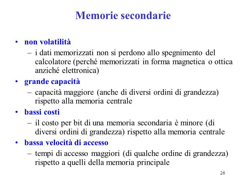 Memorie secondarie non volatilità