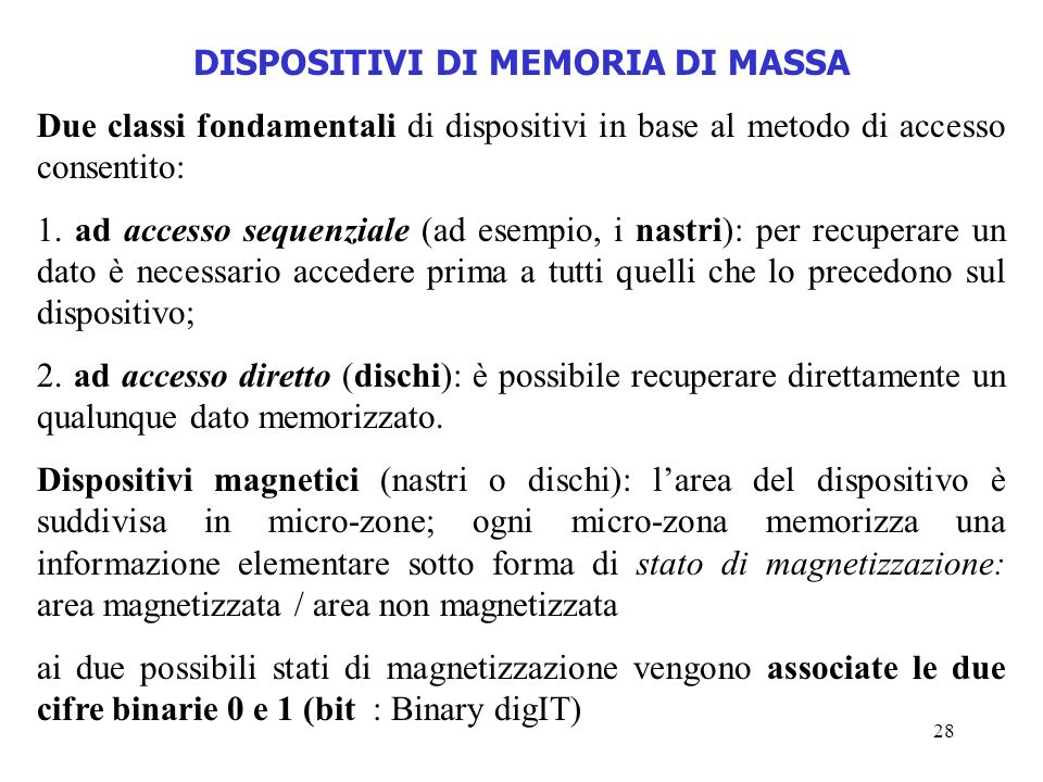 DISPOSITIVI DI MEMORIA DI MASSA