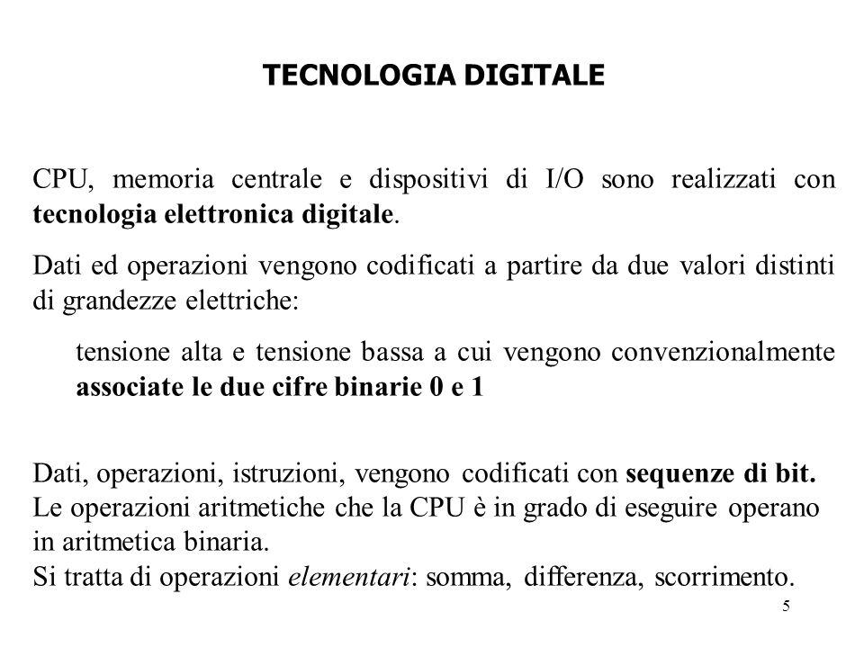 TECNOLOGIA DIGITALECPU, memoria centrale e dispositivi di I/O sono realizzati con tecnologia elettronica digitale.