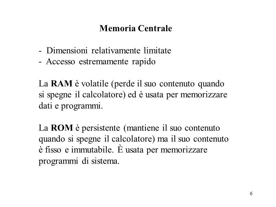 Memoria Centrale - Dimensioni relativamente limitate. - Accesso estremamente rapido.