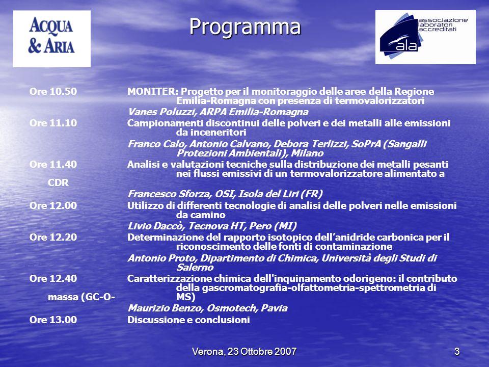 Programma Ore 10.50 MONITER: Progetto per il monitoraggio delle aree della Regione Emilia-Romagna con presenza di termovalorizzatori.