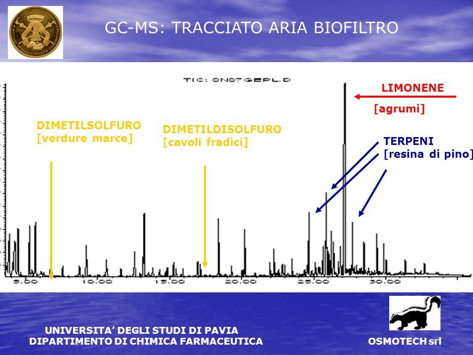 GC-MS: TRACCIATO ARIA BIOFILTRO
