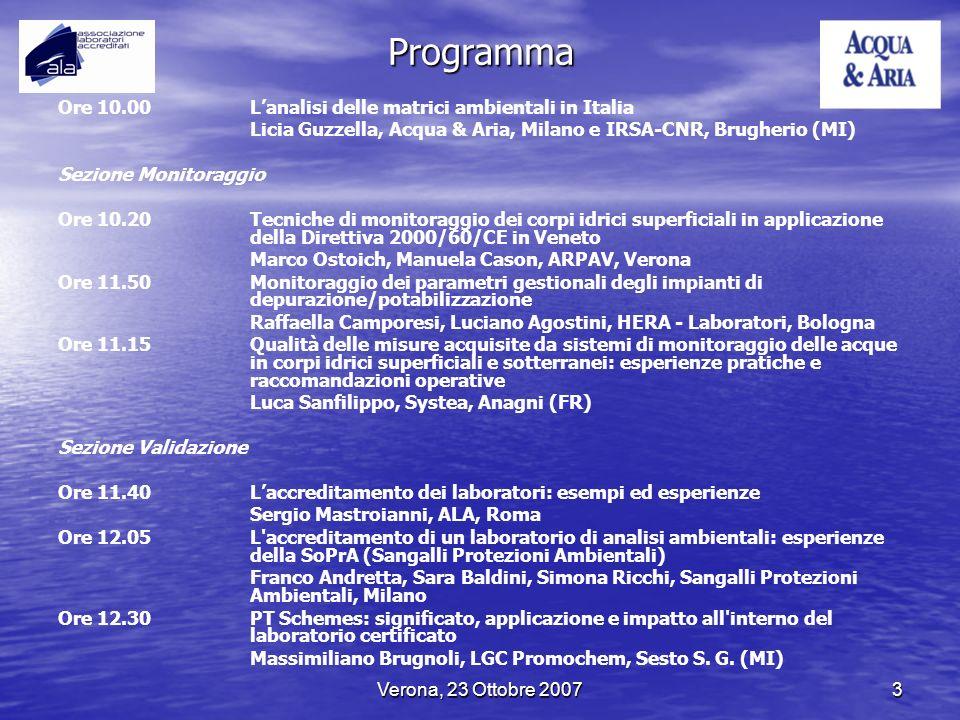Programma Ore 10.00 L'analisi delle matrici ambientali in Italia