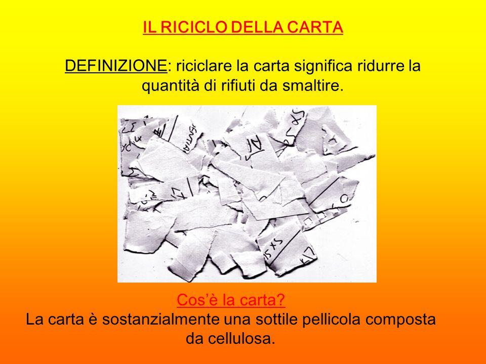 DEFINIZIONE: riciclare la carta significa ridurre la