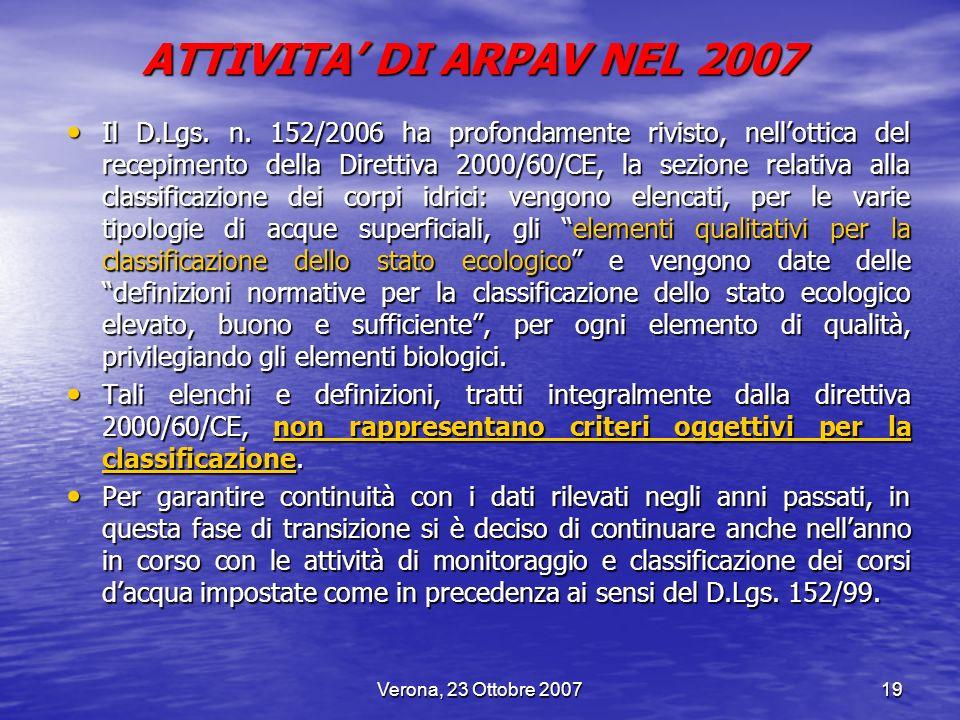 ATTIVITA' DI ARPAV NEL 2007