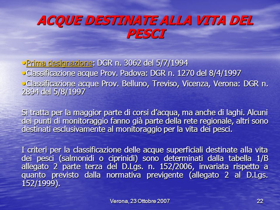 ACQUE DESTINATE ALLA VITA DEL PESCI