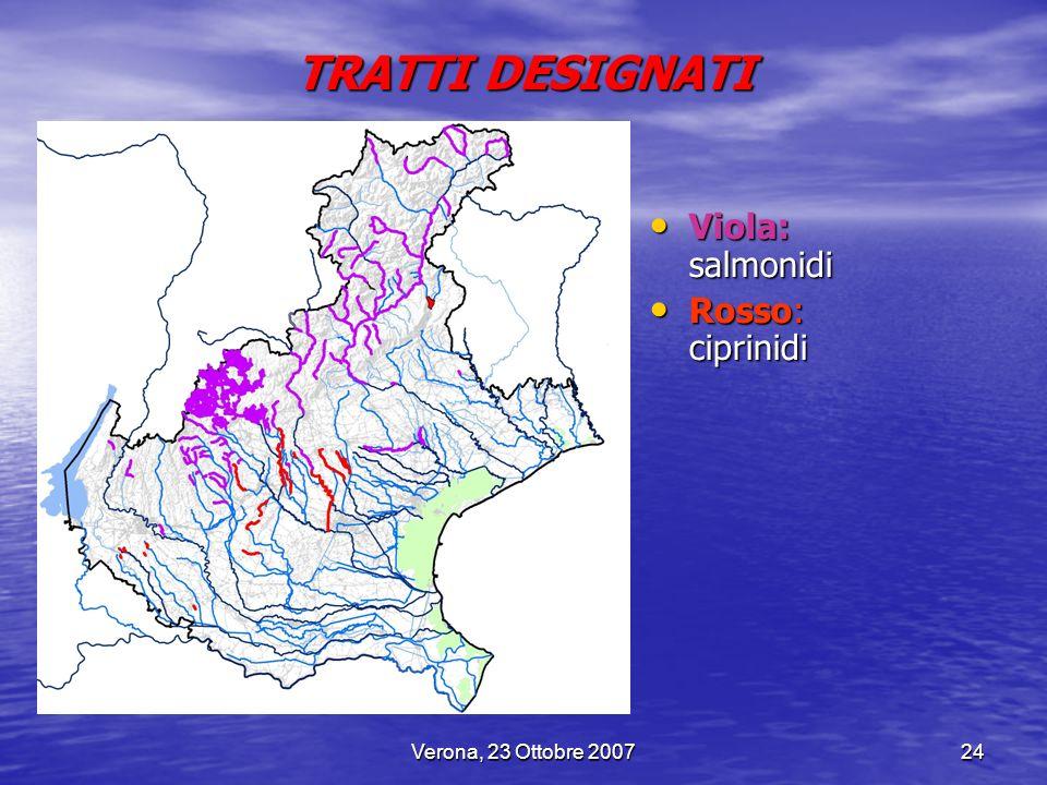 TRATTI DESIGNATI Viola: salmonidi Rosso: ciprinidi