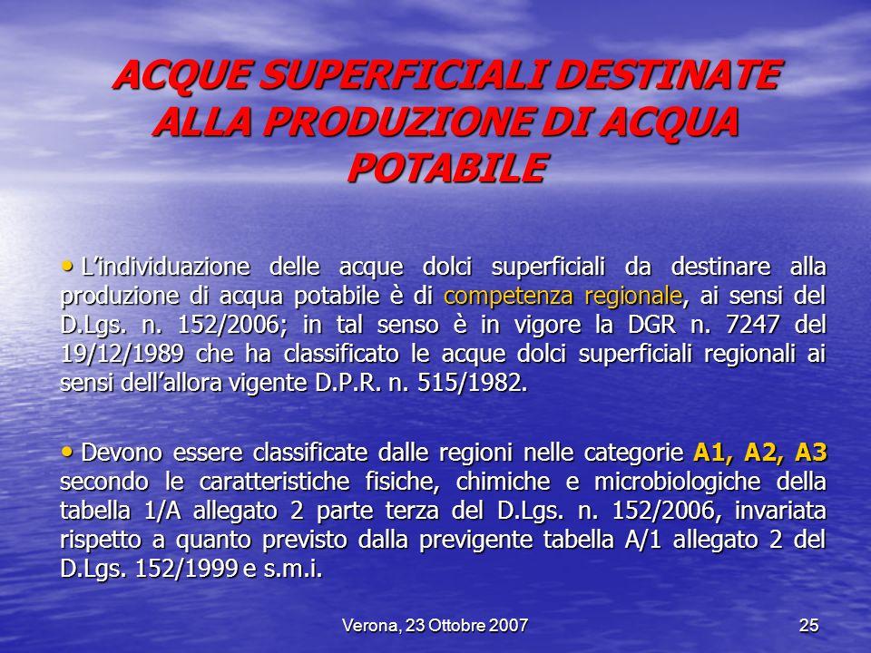 ACQUE SUPERFICIALI DESTINATE ALLA PRODUZIONE DI ACQUA POTABILE