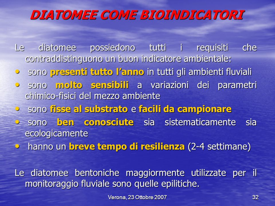 DIATOMEE COME BIOINDICATORI
