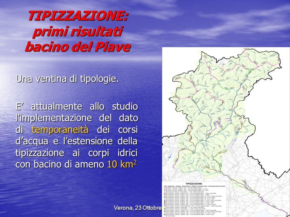 TIPIZZAZIONE: primi risultati bacino del Piave