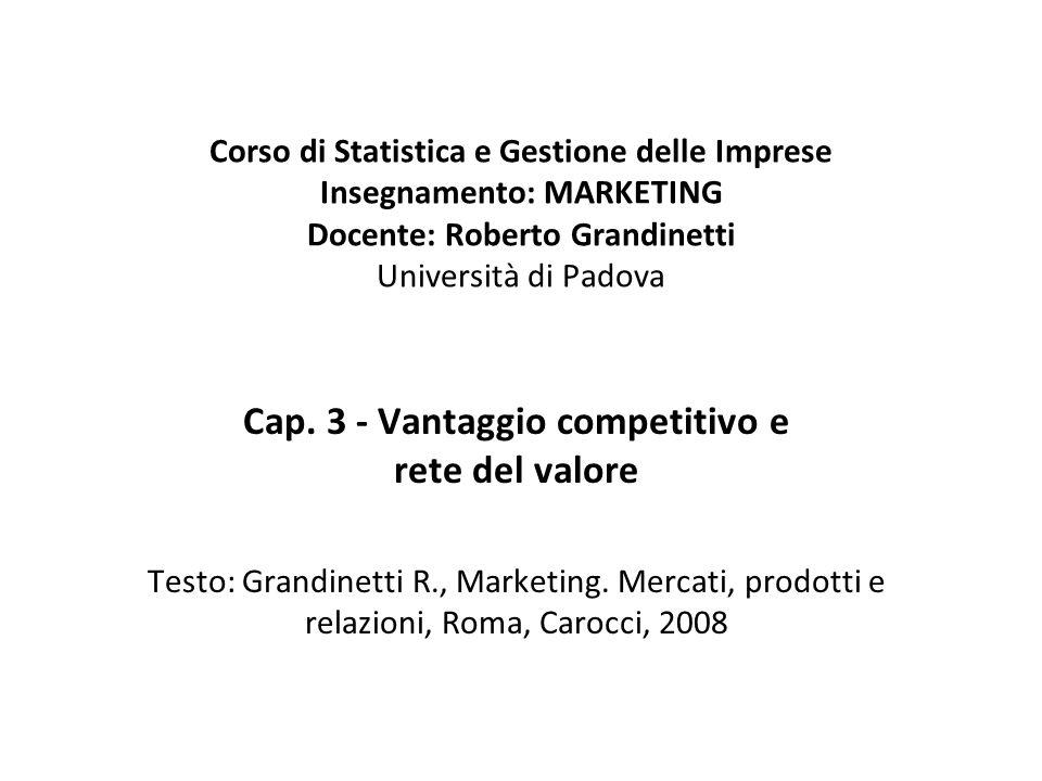 Cap. 3 - Vantaggio competitivo e rete del valore