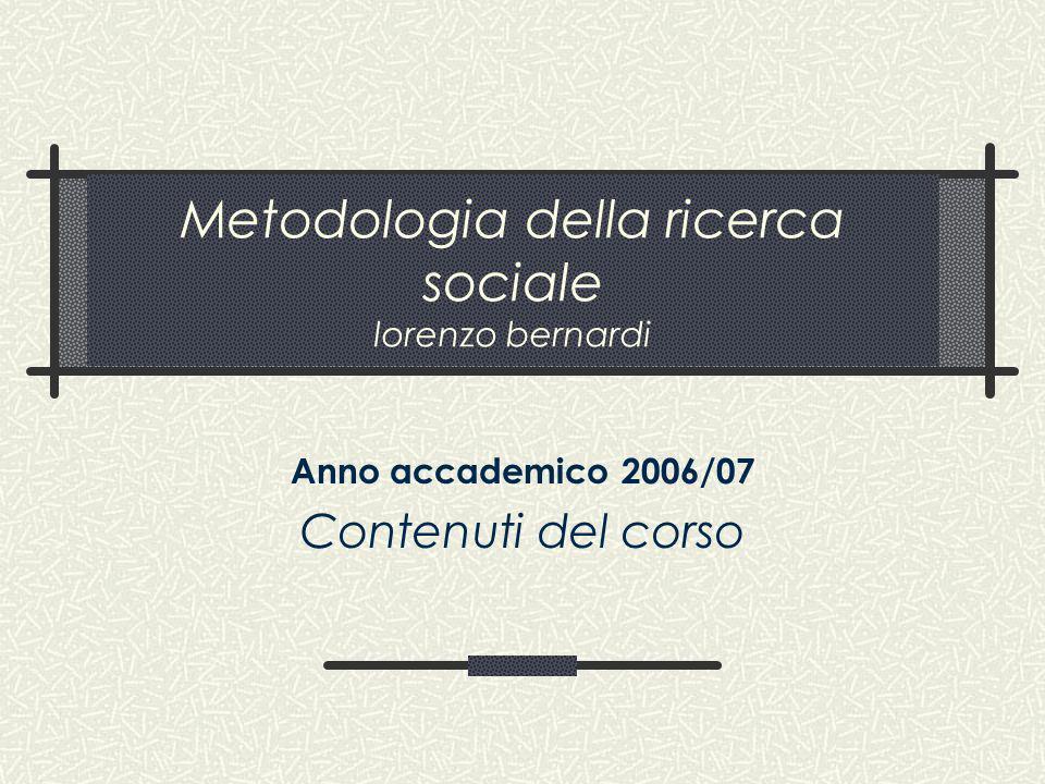 Metodologia della ricerca sociale lorenzo bernardi
