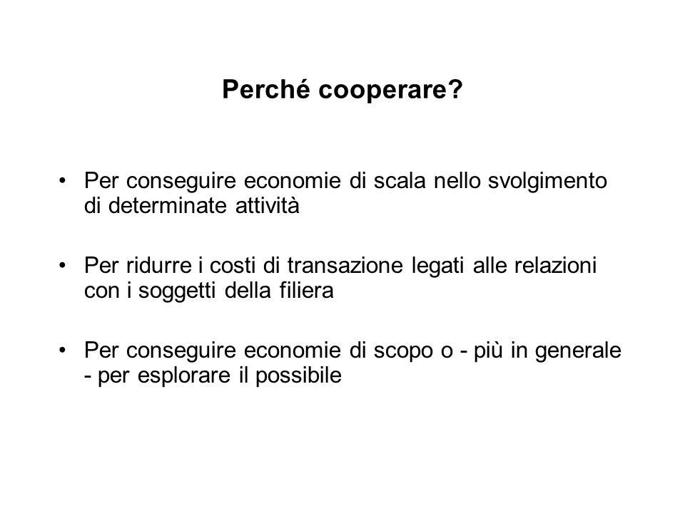 Perché cooperare Per conseguire economie di scala nello svolgimento di determinate attività.