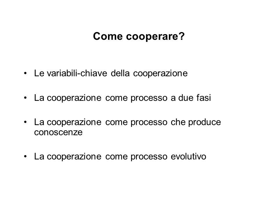 Come cooperare Le variabili-chiave della cooperazione