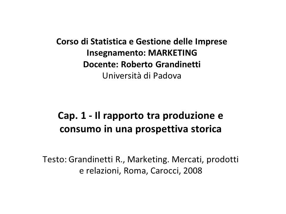 Corso di Statistica e Gestione delle Imprese Insegnamento: MARKETING Docente: Roberto Grandinetti Università di Padova