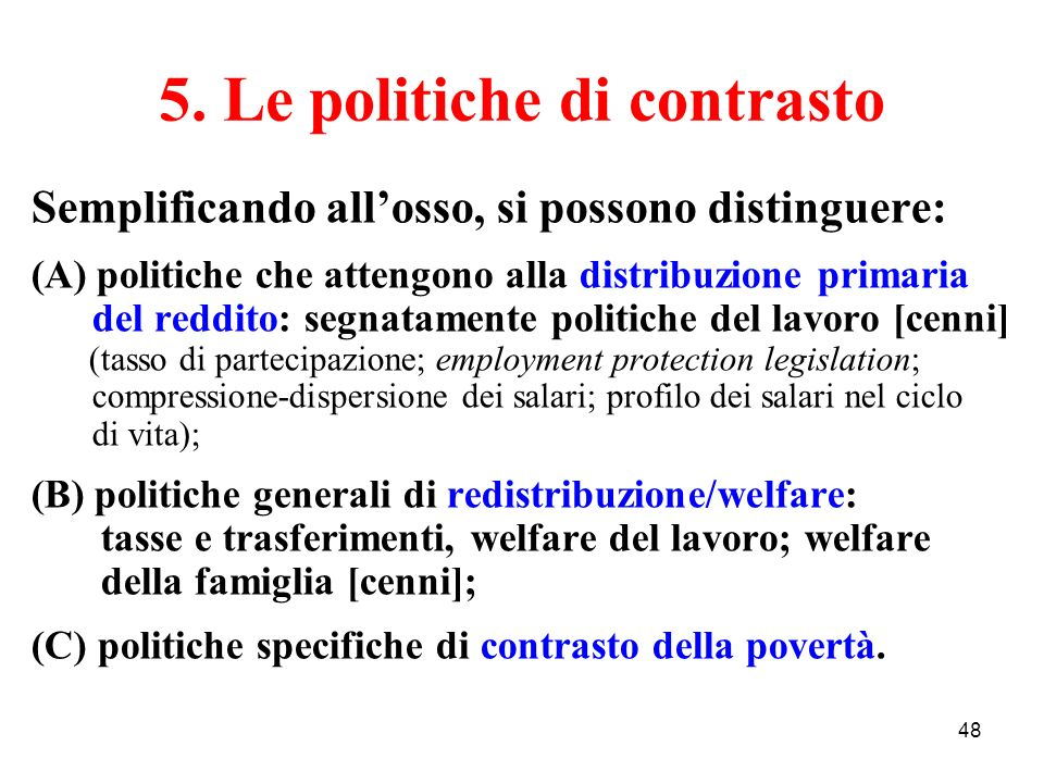 5. Le politiche di contrasto