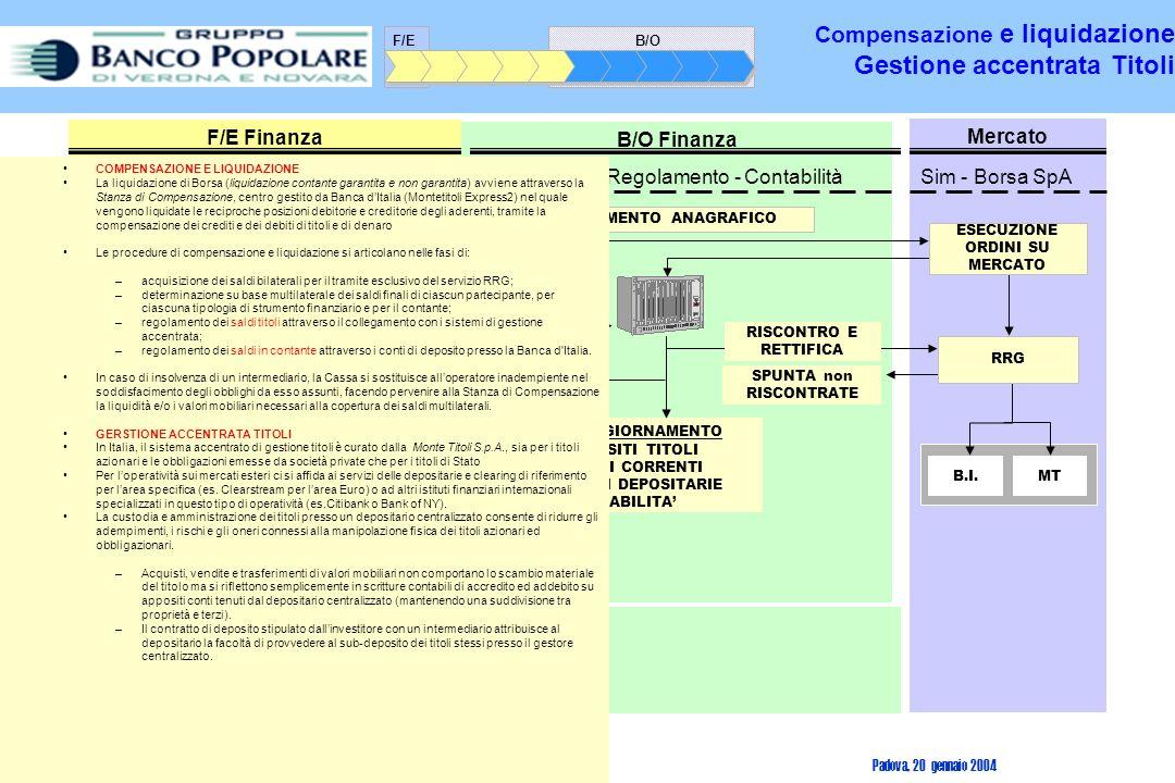 Compensazione e liquidazione Gestione accentrata Titoli