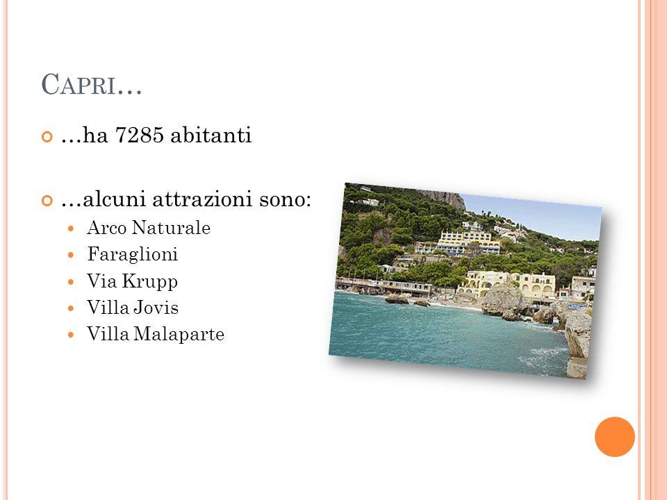 Capri… …ha 7285 abitanti …alcuni attrazioni sono: Arco Naturale