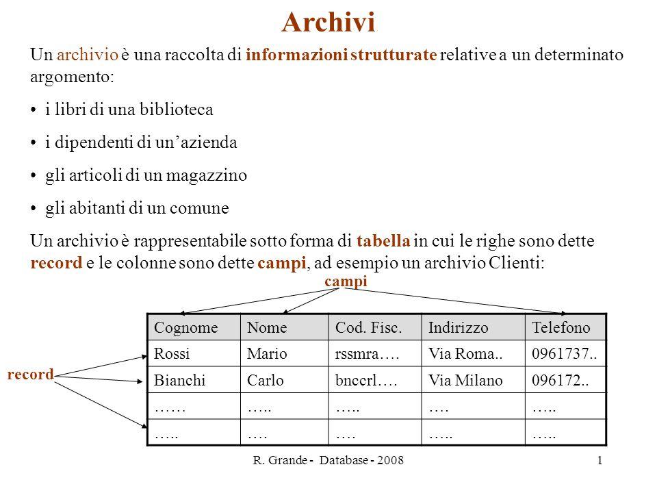 Archivi Un archivio è una raccolta di informazioni strutturate relative a un determinato argomento: