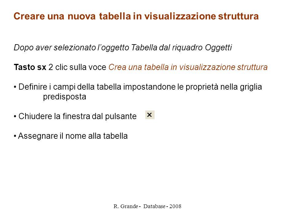 Creare una nuova tabella in visualizzazione struttura