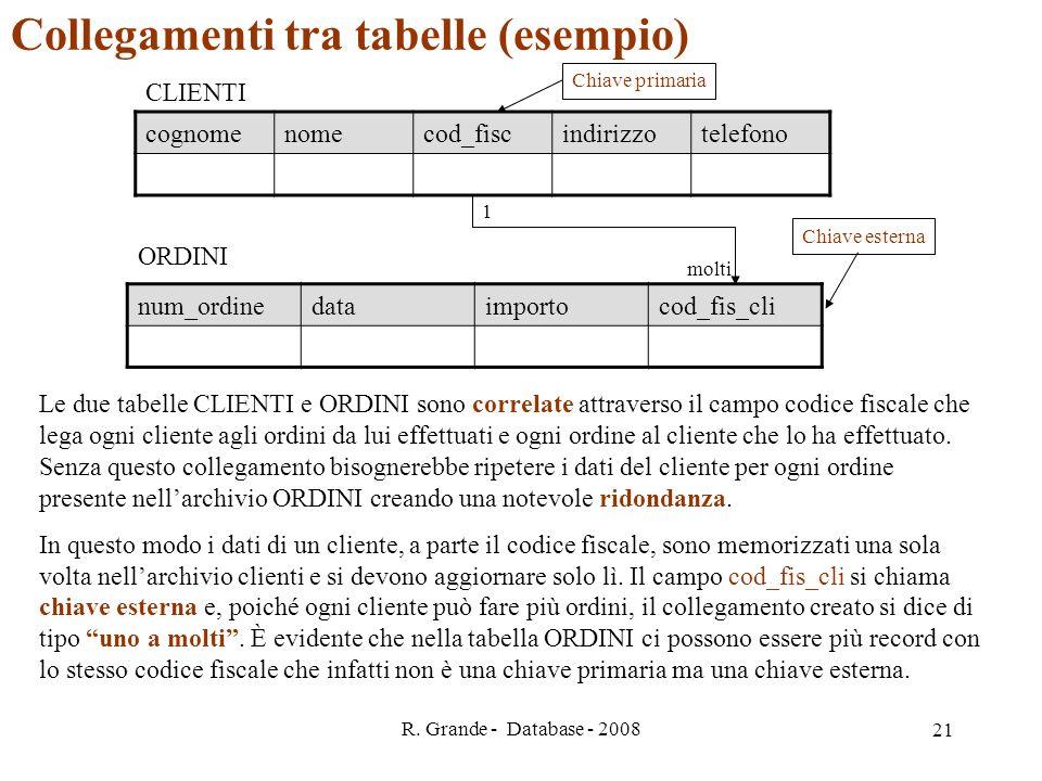 Collegamenti tra tabelle (esempio)