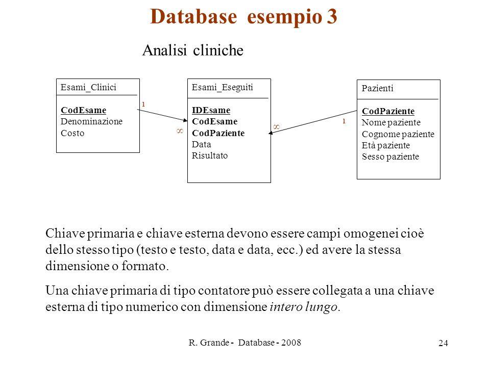 Database esempio 3 Analisi cliniche
