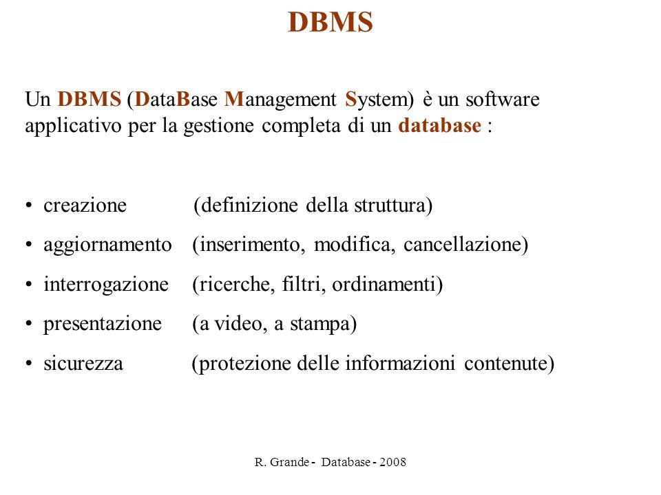 DBMS Un DBMS (DataBase Management System) è un software applicativo per la gestione completa di un database :