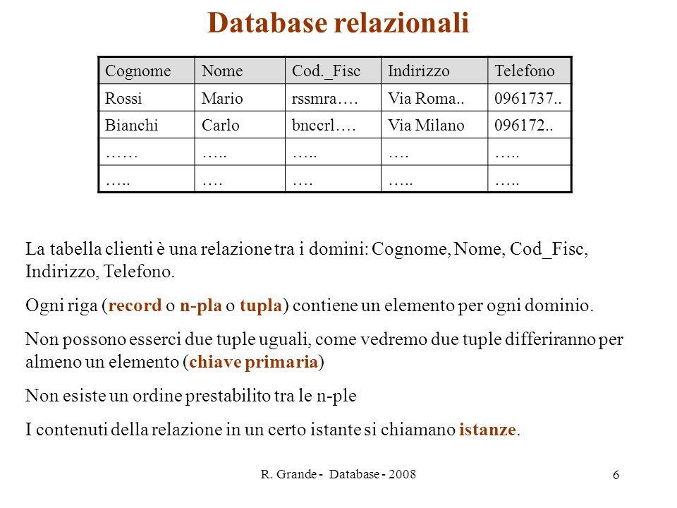 Database relazionali Cognome. Nome. Cod._Fisc. Indirizzo. Telefono. Rossi. Mario. rssmra…. Via Roma..