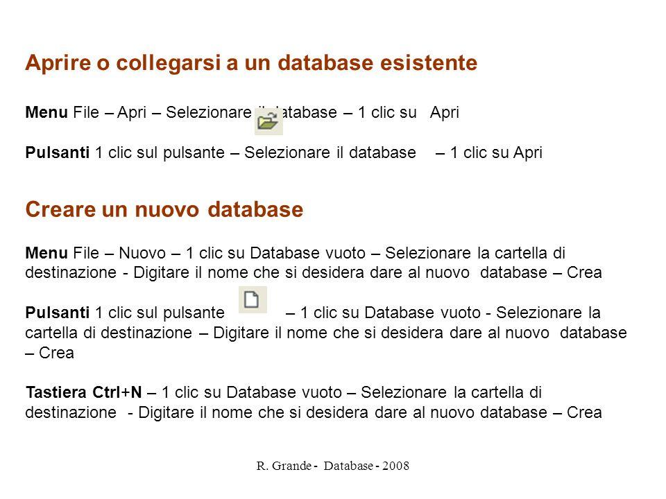 Aprire o collegarsi a un database esistente