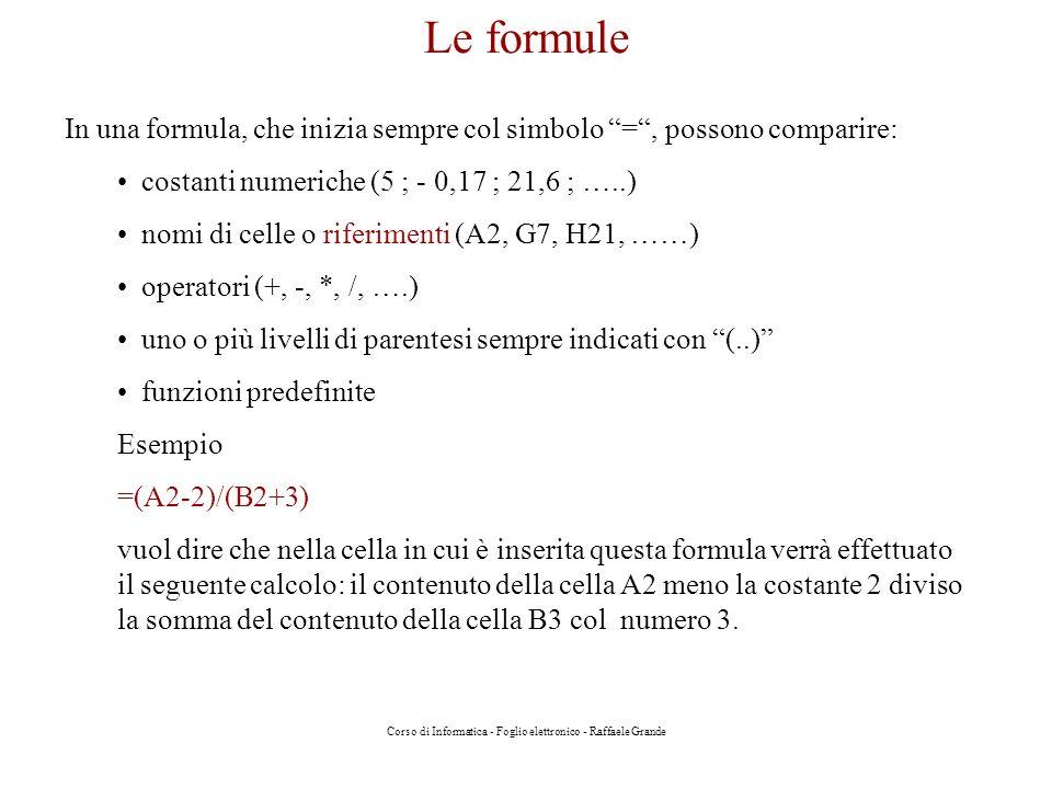 Corso di Informatica - Foglio elettronico - Raffaele Grande