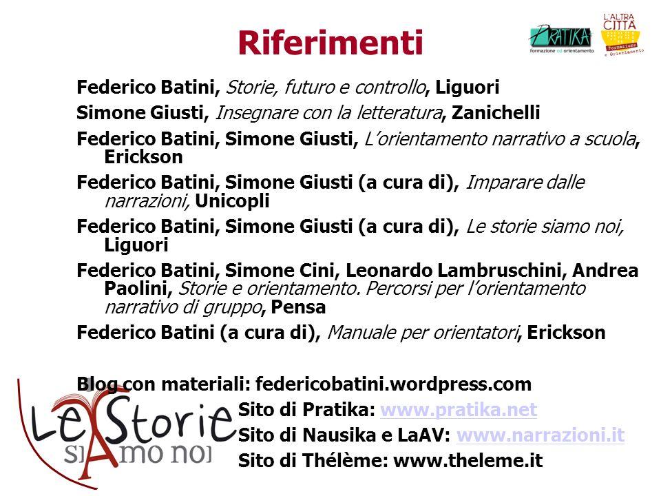 Riferimenti Federico Batini, Storie, futuro e controllo, Liguori