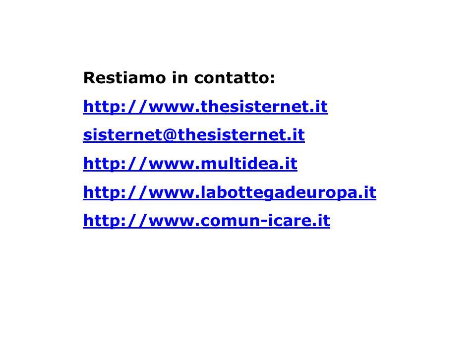 Restiamo in contatto: http://www. thesisternet
