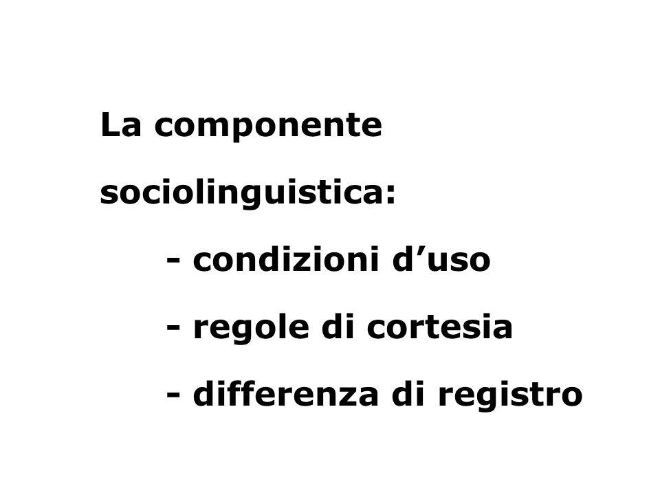 La componente sociolinguistica: - condizioni d'uso - regole di cortesia - differenza di registro