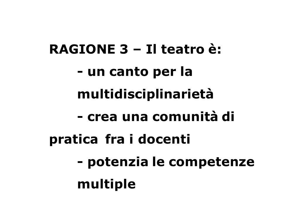 RAGIONE 3 – Il teatro è: - un canto per la multidisciplinarietà - crea una comunità di pratica fra i docenti - potenzia le competenze multiple
