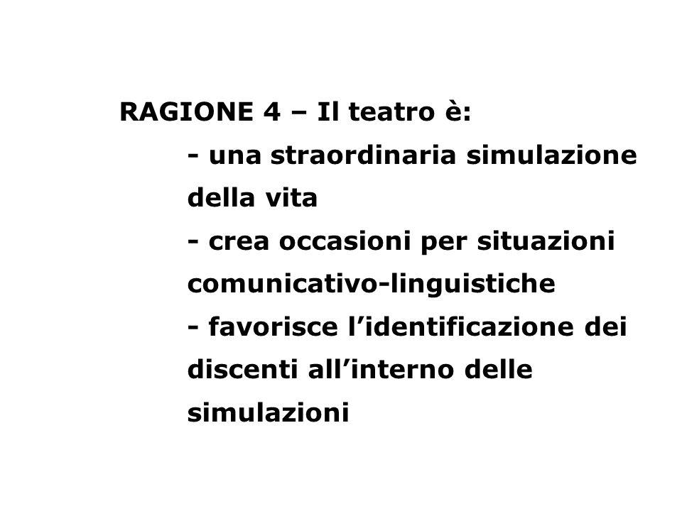 RAGIONE 4 – Il teatro è: - una straordinaria simulazione della vita - crea occasioni per situazioni comunicativo-linguistiche - favorisce l'identificazione dei discenti all'interno delle simulazioni