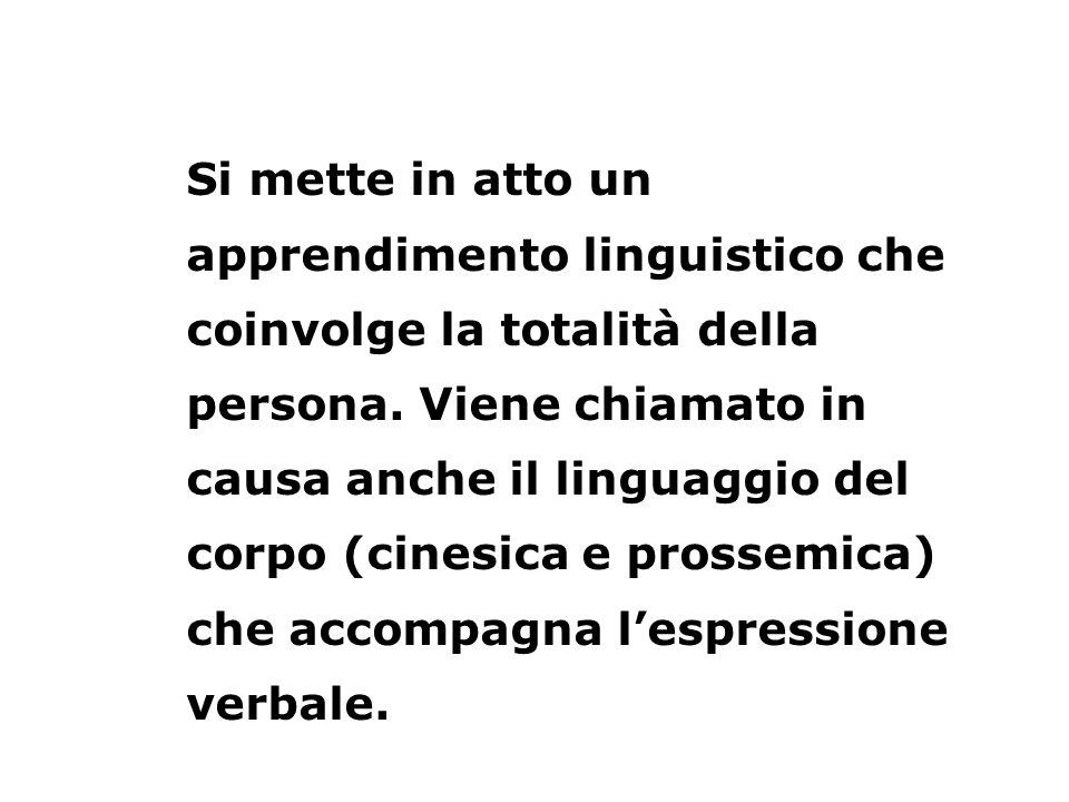 Si mette in atto un apprendimento linguistico che coinvolge la totalità della persona.