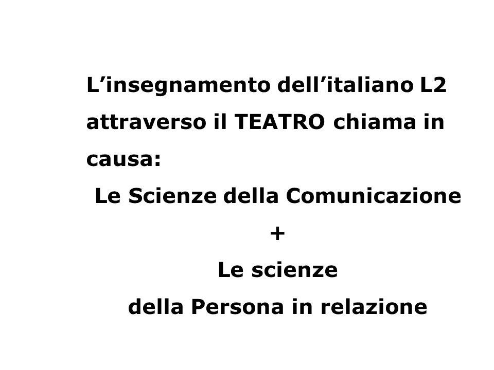 L'insegnamento dell'italiano L2 attraverso il TEATRO chiama in causa: Le Scienze della Comunicazione + Le scienze della Persona in relazione
