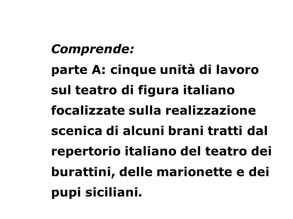 Comprende: parte A: cinque unità di lavoro sul teatro di figura italiano focalizzate sulla realizzazione scenica di alcuni brani tratti dal repertorio italiano del teatro dei burattini, delle marionette e dei pupi siciliani.