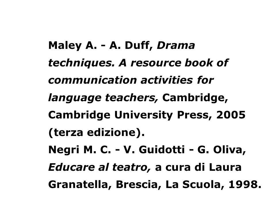 Maley A. - A. Duff, Drama techniques