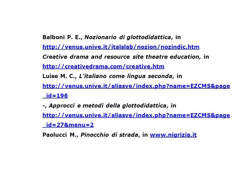 Balboni P. E. , Nozionario di glottodidattica, in http://venus. unive