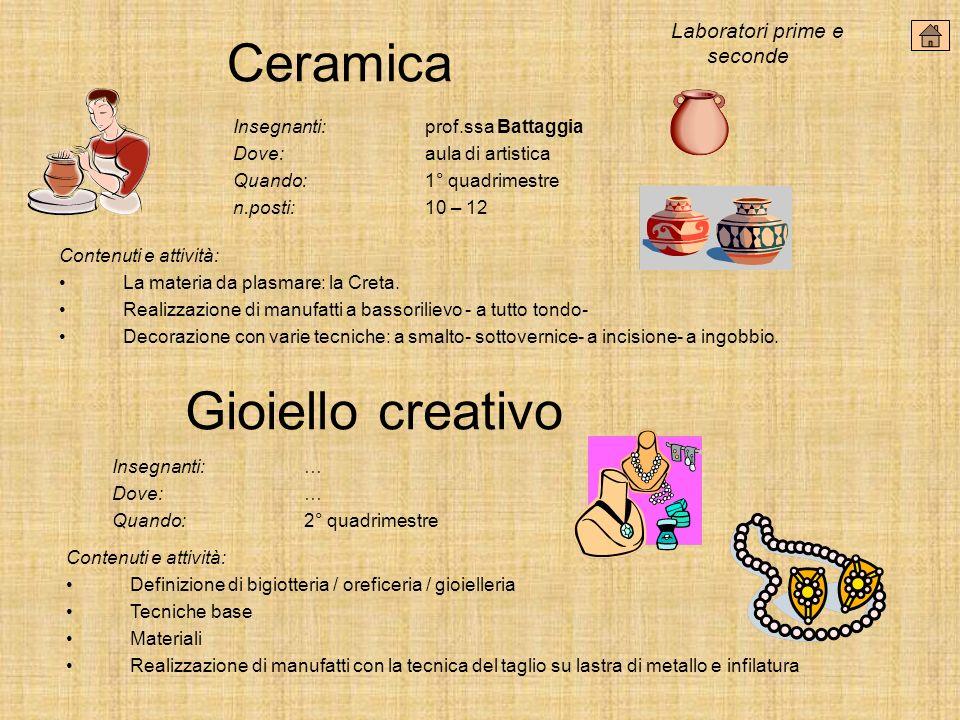 Ceramica Gioiello creativo Laboratori prime e seconde