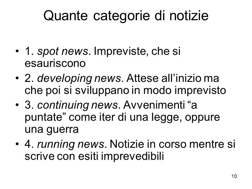Quante categorie di notizie