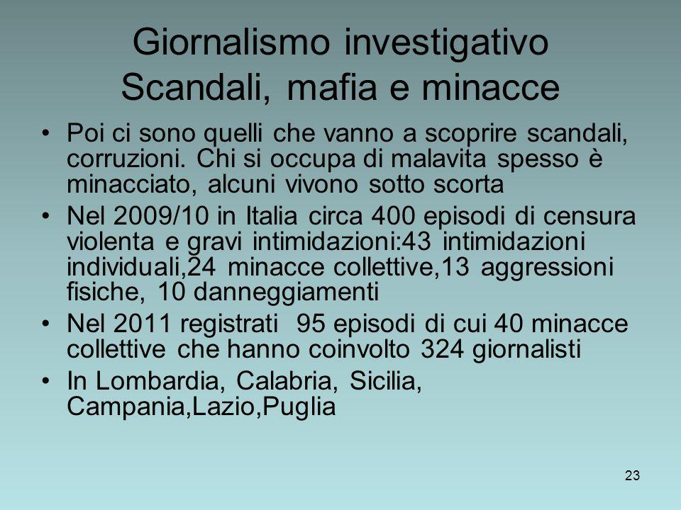 Giornalismo investigativo Scandali, mafia e minacce