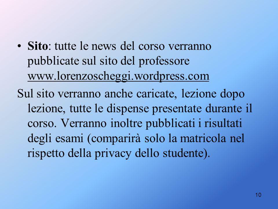 Sito: tutte le news del corso verranno pubblicate sul sito del professore www.lorenzoscheggi.wordpress.com