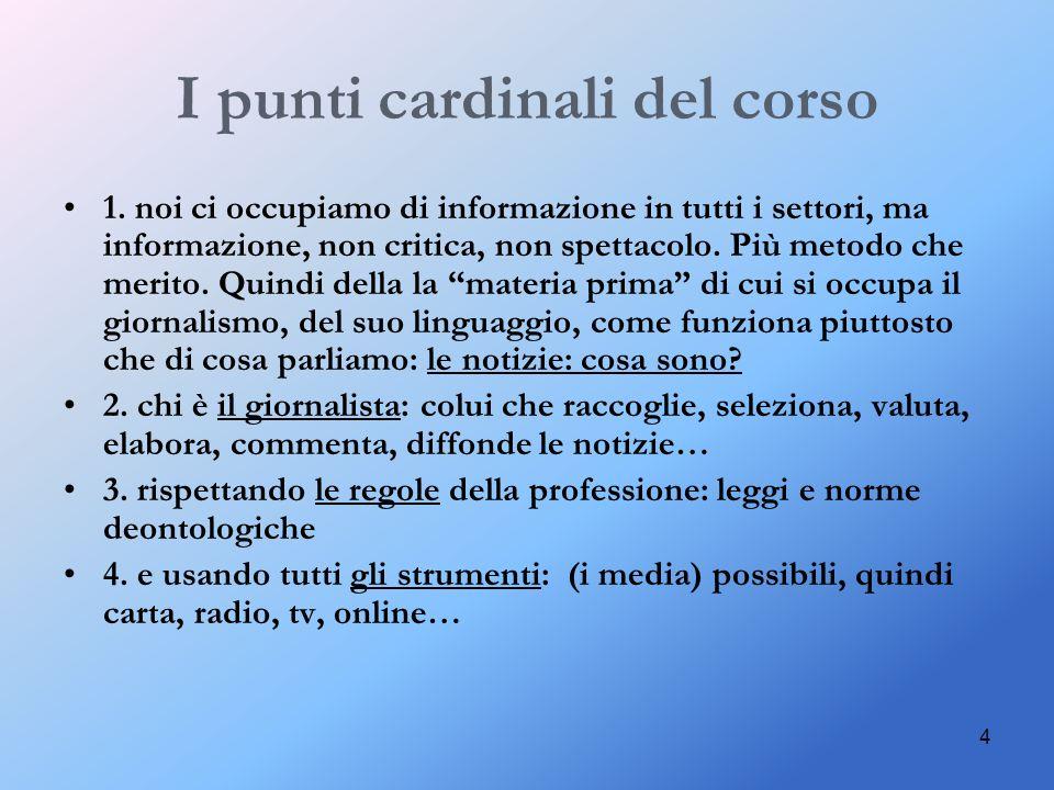 I punti cardinali del corso