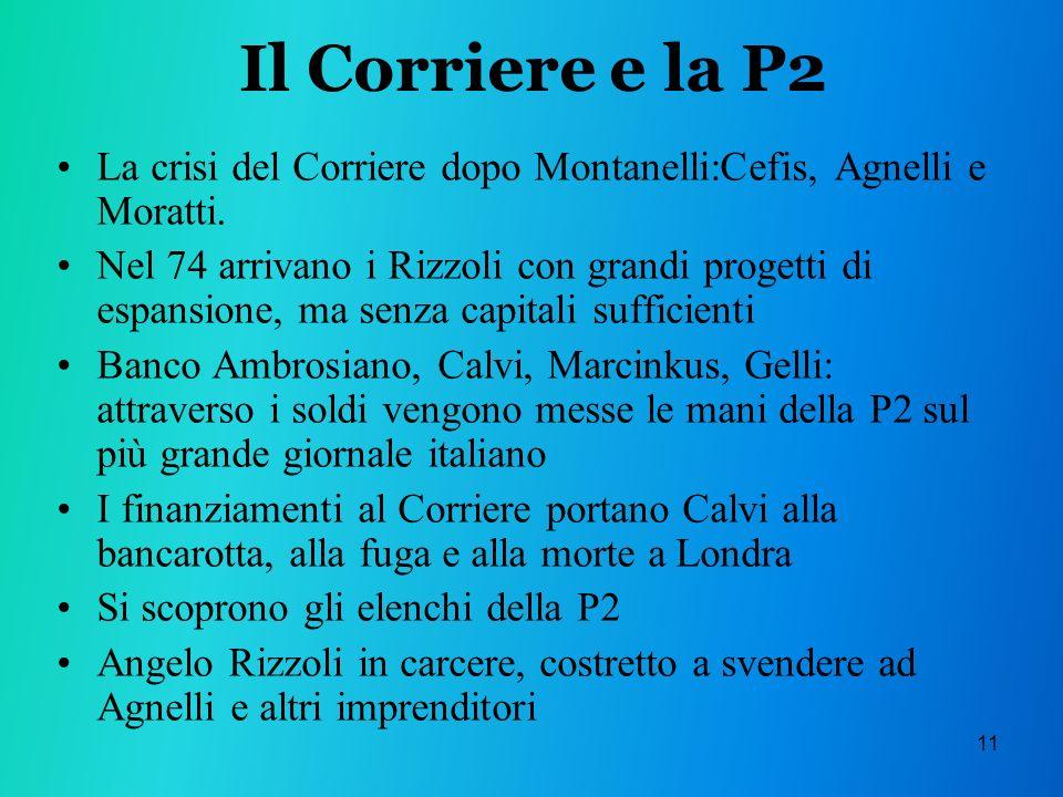 Il Corriere e la P2 La crisi del Corriere dopo Montanelli:Cefis, Agnelli e Moratti.