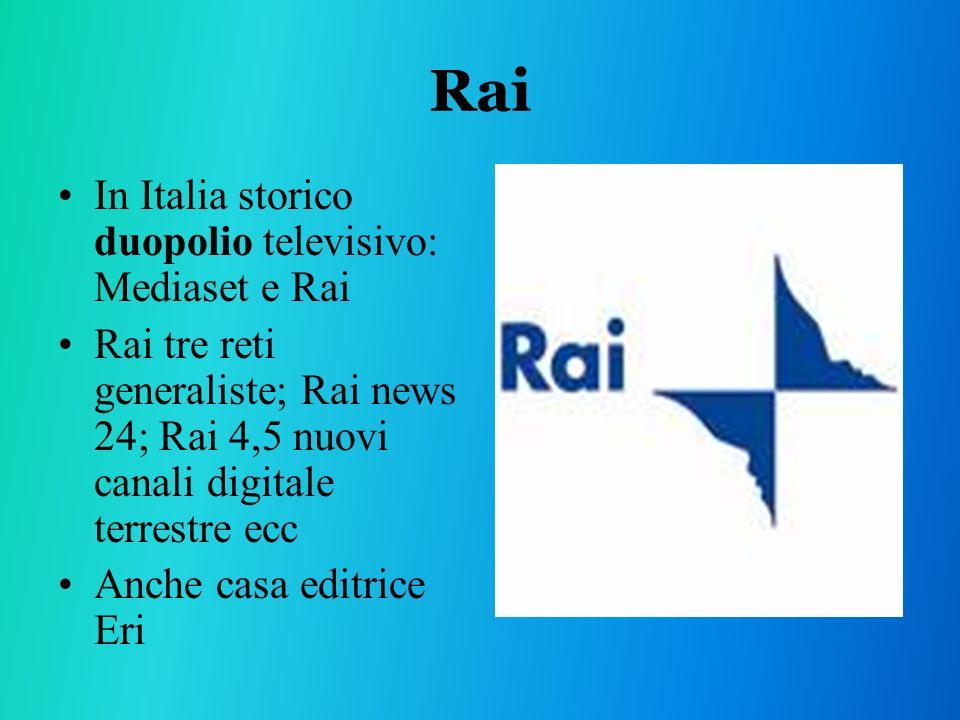 Rai In Italia storico duopolio televisivo: Mediaset e Rai